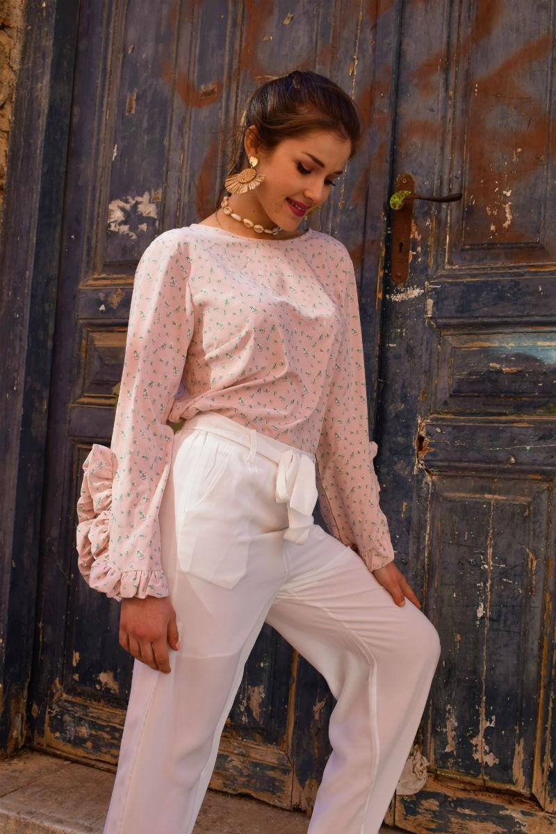 da4520533938 Floral Μπλούζα με Βολάν-Ροζ